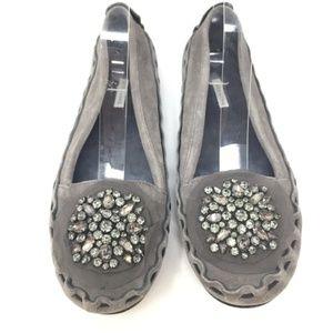 Vera Wang Grey Leather Flats Size 8.5